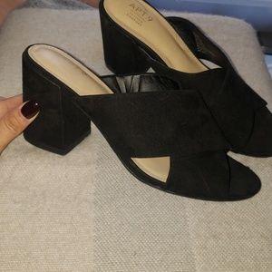 Black suede like mule with chunky heel